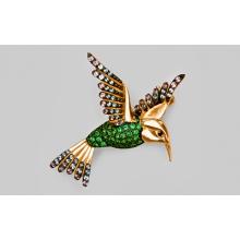 """Брошь """"Райская птица"""" из золота арт. 04-0141-00-404-1110-52, Платина"""