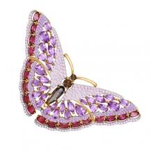 740152 Брошь в виде бабочки из золотас аметистом и родолитом, SOKOLOV