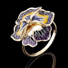 """Кольцо """"Виола"""" из золота с эмалью арт. 01-4847-00-404-1130-48, Платина"""