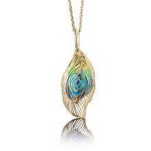 Подвеска-перо из золота с эмалью арт. 03-2594-00-000-1130-48, Платина
