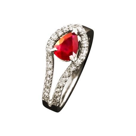 Кольцо из золота 750 пробы с рубином и бриллиантами(Франция)