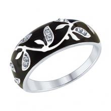 94012594 Кольцо с черной эмалью из серебра 925 пробы SOKOLOV