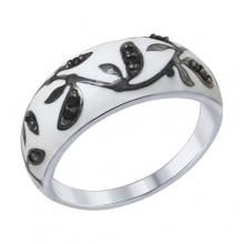 94012307 Кольцо с белой эмалью из серебра 925 пробы SOKOLOV
