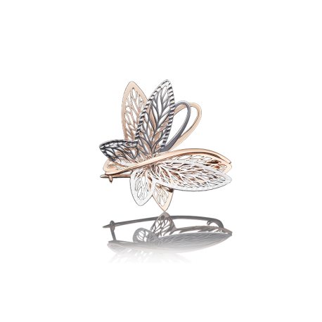 """Брошь-подвеска """"Бабочка"""" из золота с эмалью арт. 04-0137-00-000-1110-48, Платина"""
