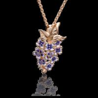 """Подвеска """"Сирень"""" из золота с эмалью арт. 03-2647-00-404-1110-48, Платина"""