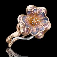 """Брошь """"Цветок"""" из золота с эмалью арт. 04-0176-00-000-1110-48, Платина Кострома"""