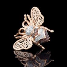 """Брошь """"Жук"""" из золота с эмалью арт. 04-0135-00-404-1110-52, Платина Кострома"""