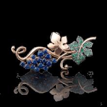 """Брошь """"Виноград"""" из золота арт04-0122-00-404-1110-24, Платина Кострома"""