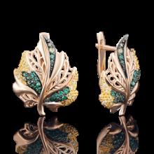 Серьги листик из золота с эмалью арт. 02-3724-00-404-1110-32, Платина