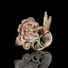 """Брошь """"Колибри"""" из золота с эмалью арт. 04-0159-00-402-1130-48, Платина Кострома"""