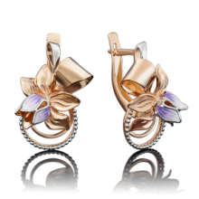 """Серьги """"Цветок""""из золота с эмалью арт. 02-3894-00-000-1110-48 Платина Кострома"""