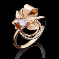 Кольцо-цветок из золота с эмалью, Платина