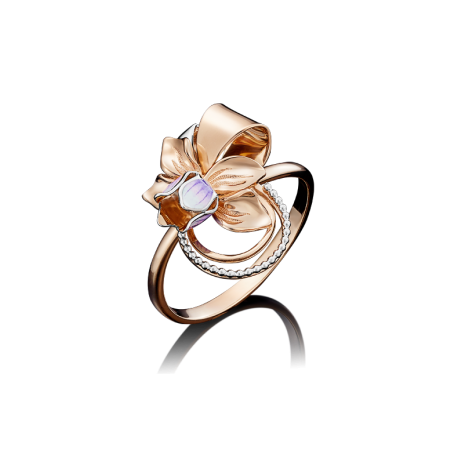 Кольцо-цветок из золота с эмалью арт.01-5001-00-000-1110-48  , Платина