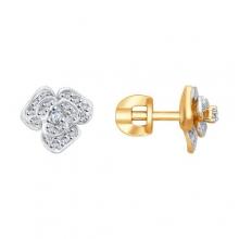 1021191 Серьги-пусеты с бриллиантами в виде цветка, SOKOLOV