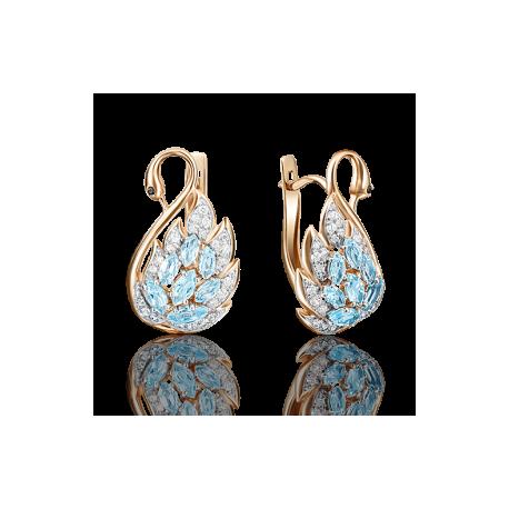 """Серьги """"Лебедь"""" из золота с топазами арт.02-3740-00-207-1110-46, Платина"""