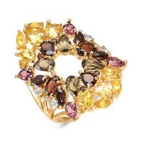 Кольцо  К120-2372М1 из золота с цитрином завода ЮВЕЛИРНЫЕ ТРАДИЦИИ, г. Кострома