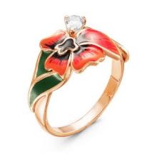 2388203-8 Кольцо цветок мака из позолоченного серебра с эмалью и фианитом, Красная Пресня