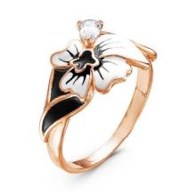 2388203 Кольцо цветок мака из позолоченного серебра с эмалью и фианитом, Красная Пресня