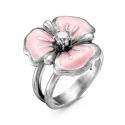 2388610-2 Кольцо розовый цветок из оксидированного серебра с эмалью и фианитом, Красная Пресня