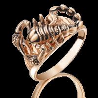 """Кольцо """"Скорпион"""" из золота с эмалью арт. 01-5089-00-000-1110-59, ПЛАТИНА КОСТРОМА"""