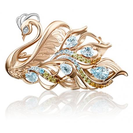 """Брошь """"Лебедь"""" из золота арт. 04-0200-00-230-1110-57, Платина"""