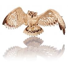 """Брошь 04-0181-00-000-1110-59 """"СОВА"""" из золота с эмалью, Платина Кострома"""