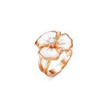 2388611 Кольцо белый цветок из позолоченного серебра с эмалью и фианитом, Красная Пресня
