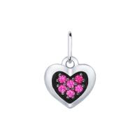 Подвеска-сердце из серебра с фианитами, SOKOLOV