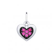 94031688 Подвеска-сердце из серебра с фианитами, SOKOLOV