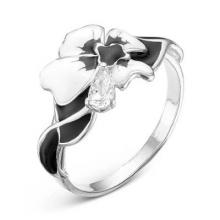2388202Д Кольцо цветок из серебра с эмалью и фианитом, Красная Пресня