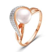 2337725Д Кольцо из позолоченного серебра с жемчугом, Красная Пресня