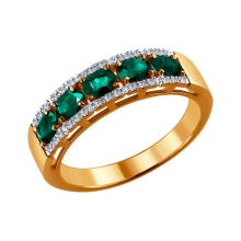 3010466 Кольцо с натуральным изумрудом и бриллиантами, SOKOLOV
