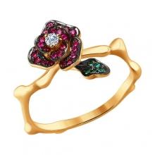 """4010620 Кольцо """"Роза"""" из золота рубинами, изумрудами и бриллиантом, SOKOLOV"""