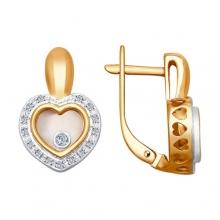 1021168 Серьги-сердце с бриллиантами Sokolov