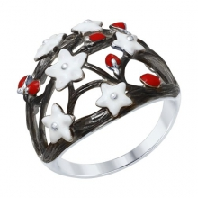 """94012333 Кольцо """"Белые цветы"""" с эмалью из серебра 925 пробы SOKOLOV"""