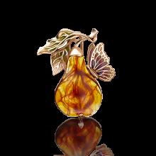 """Брошь """"Груша"""" из золота с эмалью арт. 04-0183-00-271-1110-46, Платина Кострома"""