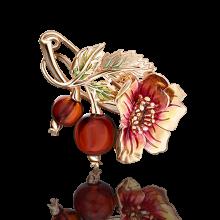 """Брошь """"Шиповник"""" из золота с янтарем и эмалью арт. 04-0185-00-271-1110-46, Платина Кострома"""