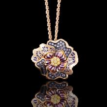 Кольцо-цветок из золота с эмалью арт. 01-4872-00-404-1110-48, Платина