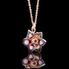Подвеска-цветок из золота с эмалью арт. 03-2558-00-401-1110-48, ПЛАТИНА КОСТРОМА