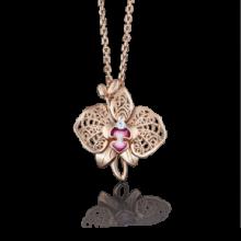 """Подвеска """"Орхидея"""" из золота с эмалью арт. 03-2679-00-401-1110-48 , Платина Кострома"""
