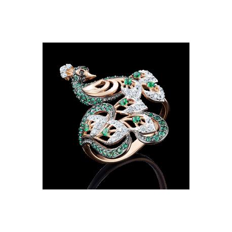 Кольцо павлин из золота арт. 01-4917-02-404-1110-52, ПЛАТИНА КОСТРОМА
