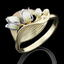 """Кольцо """"Ландыш"""" из золота с эмалью арт. 01-5021-00-000-1111-48, Платина"""