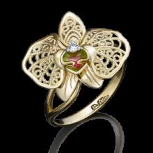 """Кольцо """"Орхидея"""" из золота с эмалью арт. 01-5039-00-401-1110-48, Платина Кострома"""