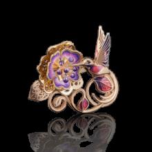 """Брошь """"Колибри"""" из золота с эмалью арт. 04-0159-00-402-1110-48, Платина Кострома"""