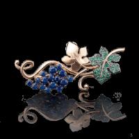"""Брошь """"Виноград"""" из золота арт. 04-0122-00-404-1110-24, Платина Кострома"""