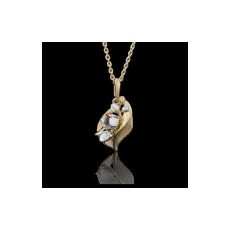 """Подвеска """"Ландыши"""" из золота с эмалью арт. 03-2653-00-000-1121-48, Платина"""