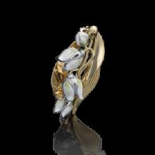 """Брошь """"Ландыши"""" из золота с эмалью арт. 04-0165-00-000-1121-48, Платина"""
