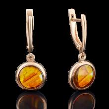 Серьги  из золота с янтарем арт. 02-3670-00-271-1110-46, Платина Кострома
