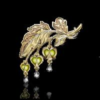 """Брошь """"Дицентра"""" с эмалью из желтого золота, Платина Кострома"""
