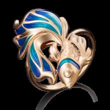 Кольцо-рыбка из золота с эмалью, Платина